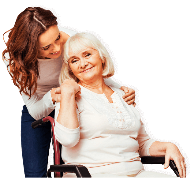 female caregiver and senior woman on wheelchair smiling
